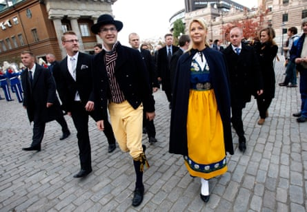 Jimmie Akesson and his girlfriend Louise Erixson dress in national traditional costumes, 2010.
