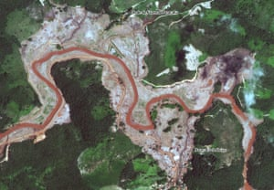 Satellite image of Paracatu de Baixo after the dam collapsed
