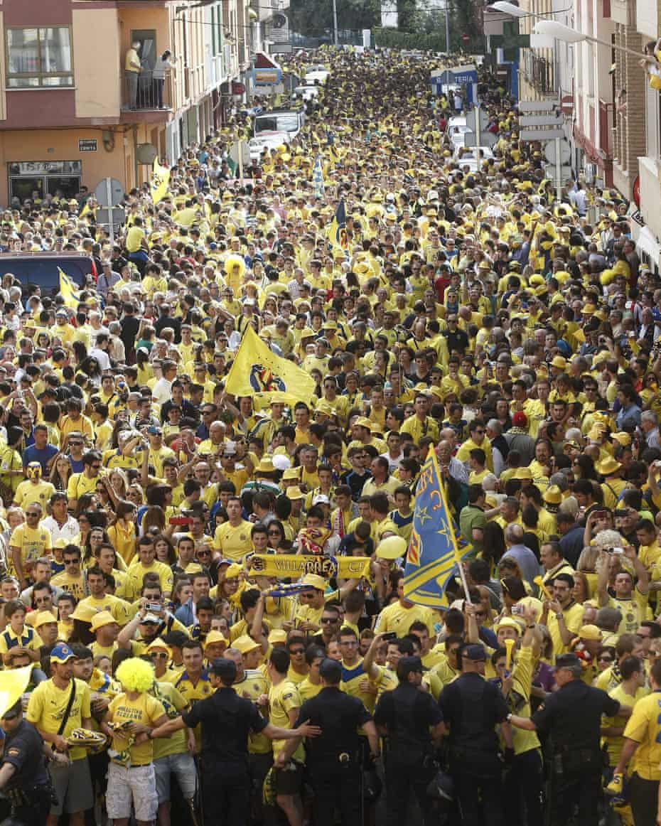 Thousands of Villarreal fans on their way to the game against Almería that secured them promotion to La Liga in 2013.