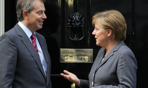 Prime minister Tony Blair and Angela Merkel outside No 10 on 24 November 2005, two days after Merkel became chancellor of Germany.