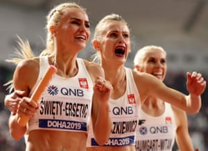 Doha, QatarThe Polish team celebrate winning silver in the women's 4x400 metres relay final at the IAAF World Athletics Championships.