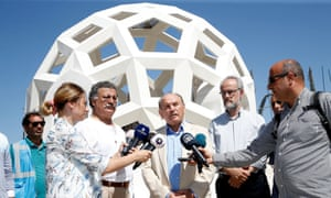 Istanbul mayor Kadir Topbaş speaking in front of the Martyrs' Memorial while under construction.
