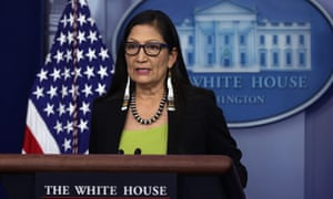 Secretary of the Interior Deb Haaland at the White House media briefing earlier today.