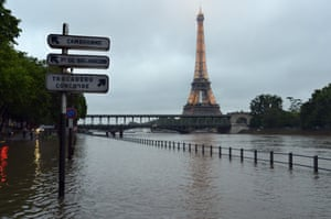 Paris, France A flooded area near the Seine river and the Eiffel Tower in Paris