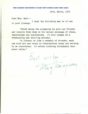 Letter from Mary Welsh Hemingway, Ernest Hemingway's wife, to library in Troy, Michigan
