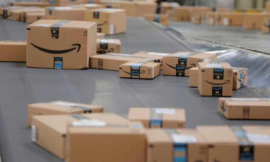 amazon boxes on a conveyor belt