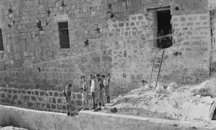 Acre jail, in Palestine, where 250 convicts escaped after a raid by a Jewish terrorist group, on 9 May 1947.
