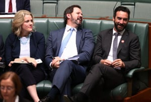 Labor MPs Clare O'Neil, Ed Husic and Tim Hammond during question time.