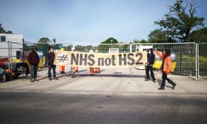 Protesters at the HS2 site in Colne Valley, Greater London, make their feelings clear.