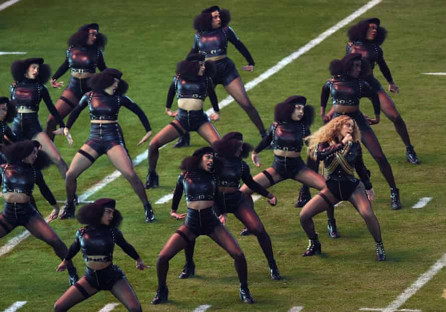 Beyoncé and her dancers perform a black-power-influenced routine at the Super Bowl half-time show in February.