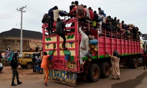 A truck full of herdsmen is stopped before arriving in Lagos last week from Zamfara and Kano State.