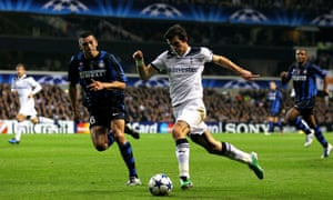 Gareth Bale takes on Lucio of Internazionale during a Champions League game for Tottenham in 2010.