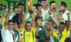 Ronaldo hoists the World Cup aloft in 2002. He scored both goals in the 2-0 win over Germany, to make it eight in total for the tournament in Japan and South Korea.