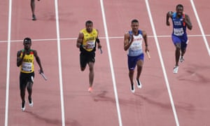 Britain's Zharnel Hughes (second right) sprints towards the finish line.