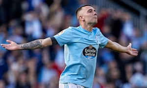Iago Aspas celebrates the first of his goals for Celta Vigo against Villarreal.