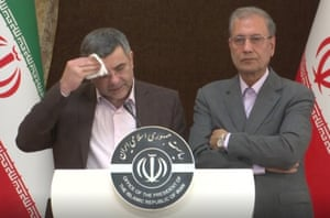 iraj harirchi the iranian deputy health minister mops his brow during a press conference in tehran last monday