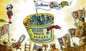 Cartoon of Unilever management protected by giant share certificate wrapped around them