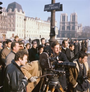 A film crew on the Pont Saint-Michel in the 1960s