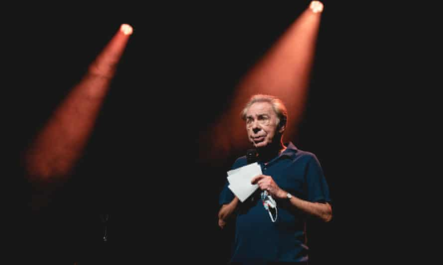 'This is a rather sad sight' … Andrew Lloyd Webber on stage at the Palladium.