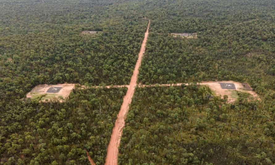 Coal seam gas wells of Santos' Narrabri project pockmark the Pilliga forest in north-west NSW.