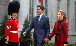 Canada's prime minister, Justin Trudeau, and his wife Sophie Grégoire Trudeau arrive at Rideau Hall to ask the governor general, Julie Payette, to dissolve parliament.