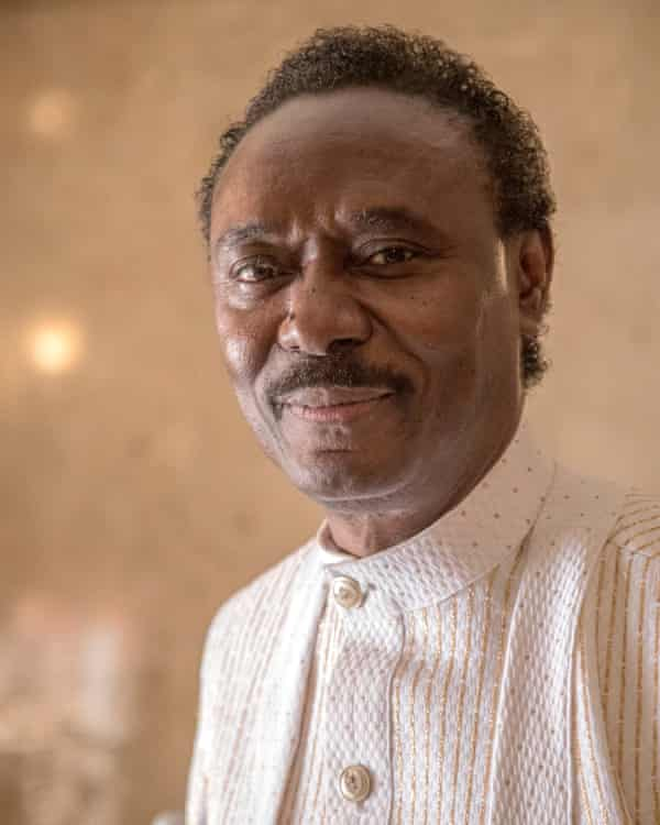 Chris Okotie photographed in church on Sunday.