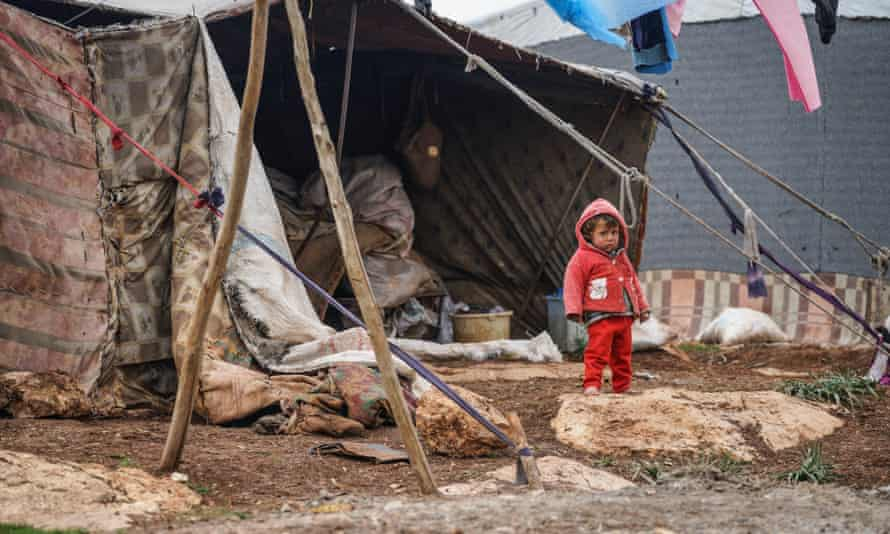 Child at refugee camp on Syrian-Turkish border