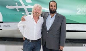Prince Mohammed with Richard Branson during his visit to the Virgin Galactic company.