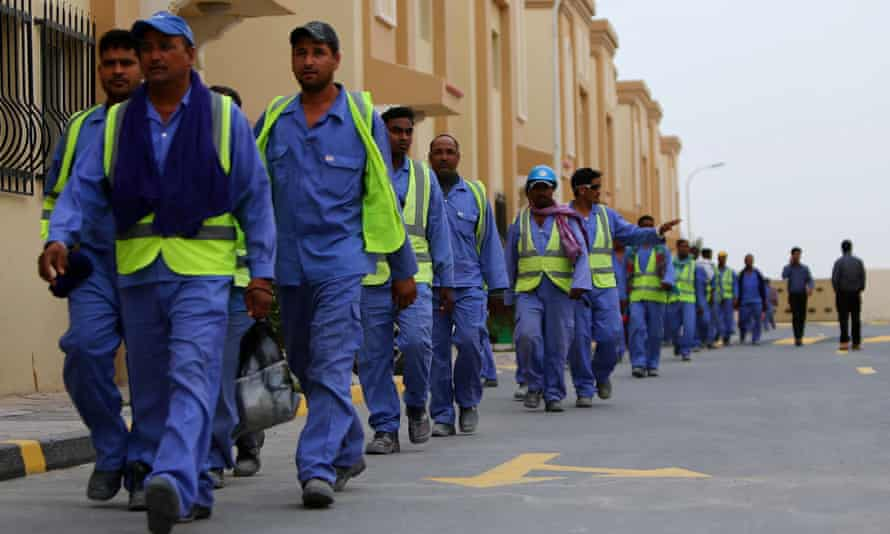 Foreign labourers working on the construction site of the al-Wakrah football stadium, one of Qatar's 2022 World Cup venues.