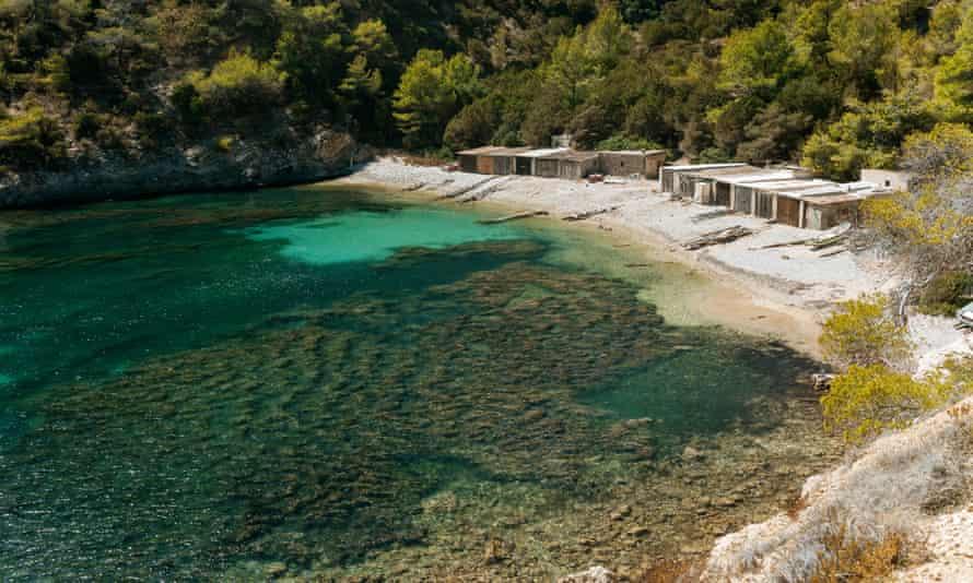 Spain, Ibiza, Fishermen's huts at Llentrisca Beach