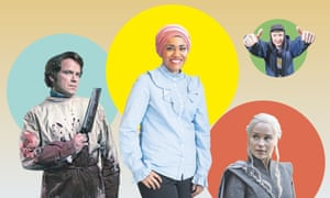 Robert Lessing (Rory Kinnear) in Quacks; Nadiya Hussain, one of the new hosts of The Big Family Cooking Showdown; Daenerys Targaryen (Emilia Clarke) in Game of Thrones; Steves Green (Steve Stamp) in People Just Do Nothing.