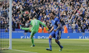 Leonardo Ulloa celebrates his successful penalty which earned Leicester City a share of the spoils against West Ham United.