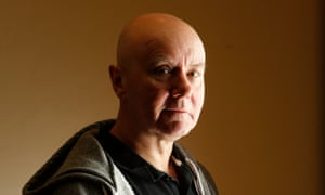irvine welsh stands in the wellington cafe george street edinburgh in close up