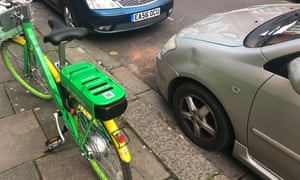 Bike-share fall-out … the Lime cycle, discovered by a neighbour after it toppled on a parked car