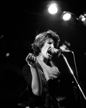 Julz Sale of Delta 5 performing in Leeds, 1979.