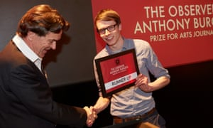 Observer associate editor Robert McCrum presents Giles Masters with his runner-up prize.