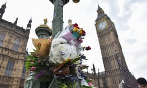Flowers and tributes left outside parliament after the Westminster terror attack.