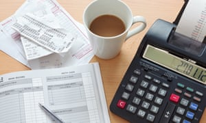 Bookkeeping items including a calculator and ledger