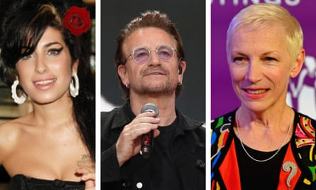 Amy Winehouse, Bono and Annie Lennox.