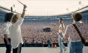Stirring … Queen and the Live Aid crowd in Bohemian Rhapsody.