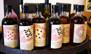 Bottles of whisky produced at Venture Whisky's distillery in Chichibu, Japan