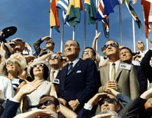 Vice President Spiro Agnew and former President Lyndon Johnson see Apollo 11 taking off from the stands located in the VIP Space for Observing the Kennedy Space Center.