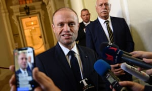 Joseph Muscat makes a statement to media on the investigation.