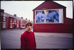 Liam Gallagher outside Man City's old ground at Maine Road, July 1994