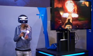 A gamer tests first-person shooter Farpoint at the Eurogamer Expo in Birmingham