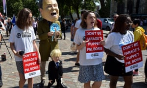 Conservative leadership, Westminster, London, UK. 23rd July 2019Protesters against Boris Johnson becoming the Pime Minister and the 'puppet' of Nigel Farage.