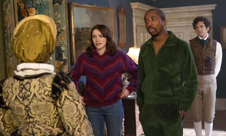 (From left) Charlotte Ritchie, Kiell Smith-Bynoe and Mat Baynton in Ghosts.