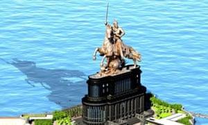A computer-generated image of the Chhatrapati Shivaji statue.