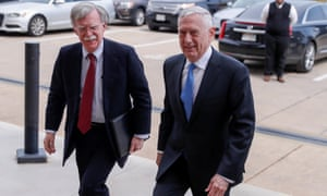 John Bolton, left, meets defense secretary James Mattis at the Pentagon.