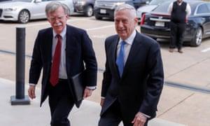 John Bolton, left, meets defense secretary James Mattis at the Pentagon.